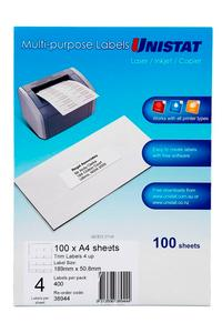 Product image: Unistat A4 Trim Labels ( for Trim Software only)
