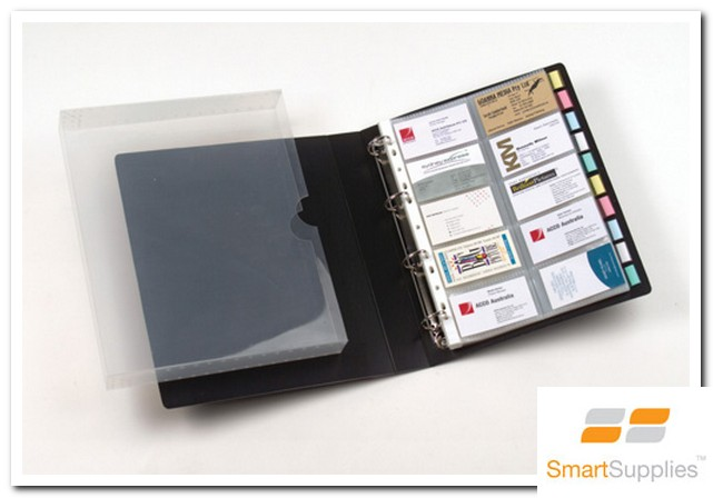 Business card holders smartsupplies office supplies 4d ring binder with capacity for 500 business cards includes pockets tabs and inserts for personalised indexing of business cards refills available reheart Image collections