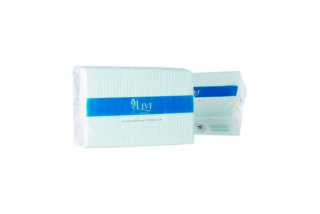 Product image: Livi Paper Towels PF1402 Multifold 200 Towels (Sheet Size: 230mm X 230mm)