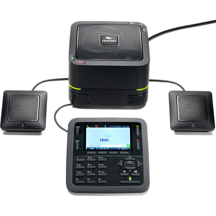 Product image:  Revolabs IP Conference phone with 2 wired extension microphones