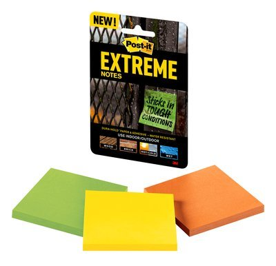Product image: Post-it Extreme Notes, Mixed Colours (Green, Orange & Yellow) - 76x76mm