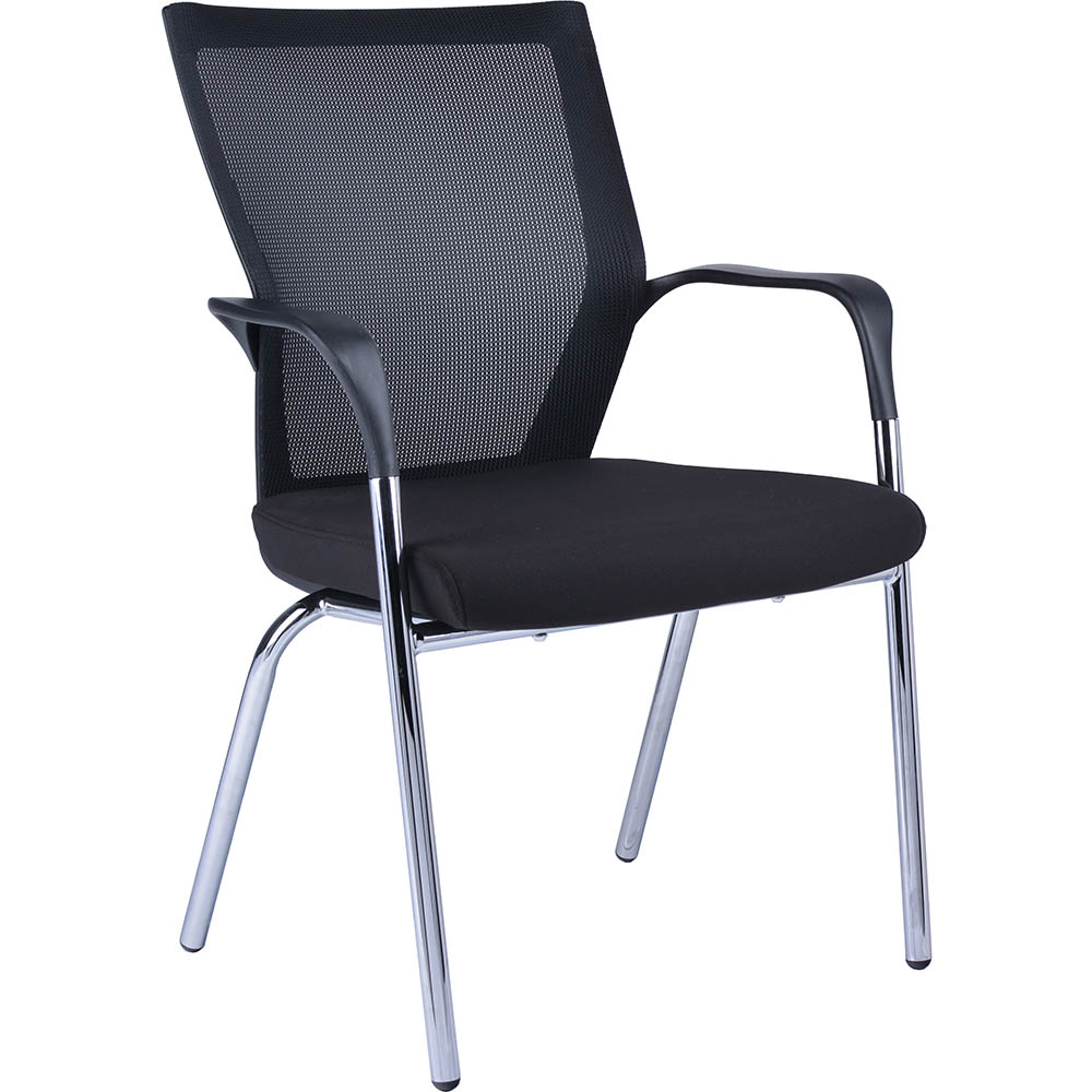 Product image: Spencer Visitor Chair Mesh Back With 4-Leg Base Black