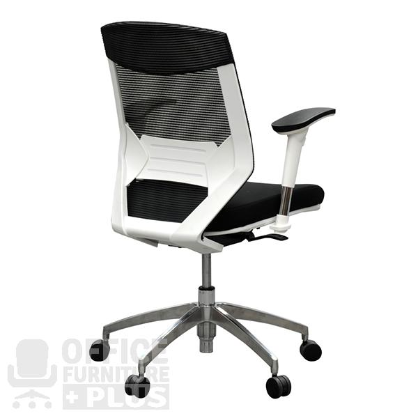 Product image: Vogue Mesh Back Chair Arms Aluminium Base Black