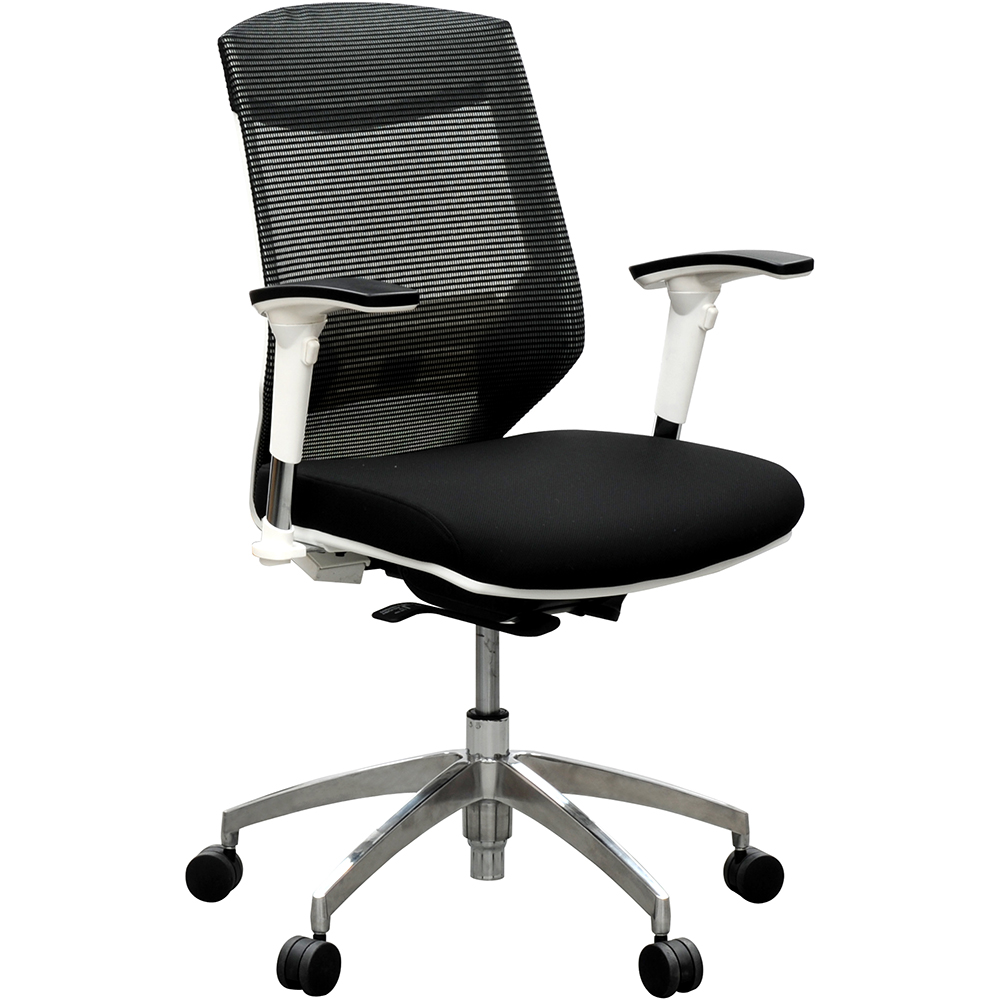 Product image: Vogue Mesh Back Chair Arms Black Seat White Frame Aluminium Base
