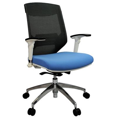 Product image: Vogue Mesh Back Chair Arms Black/Blue White Frame And Aluminium Base