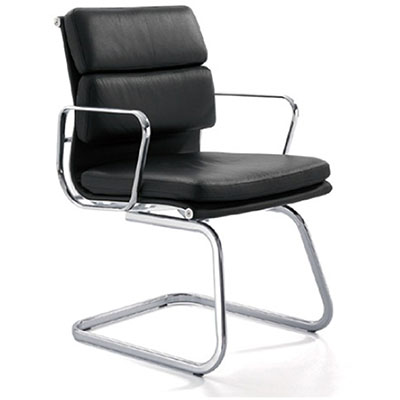 Product image: Manta Cantilever Chair Medium Back With Arms Leather Black