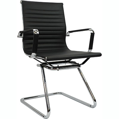 Product image: Aero Visitor Chair With Arms Leather Black