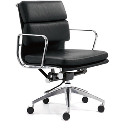 Product image: Manta Managers Chair Medium Back With Arms Leather Black