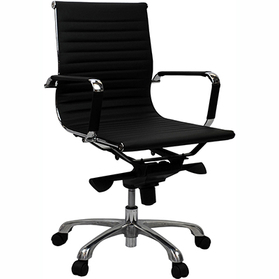 Product image: Aero Managers Chair Medium Back With Arms Leather Black