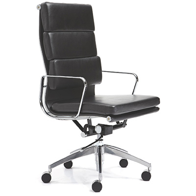 Product image: Manta Managers Chair High Back With Arms Leather Black