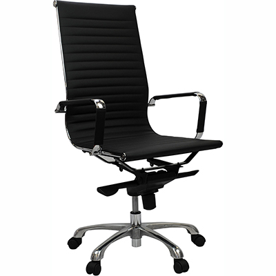 Product image: Aero Managers Chair High Back Leather With Arms Leather Black