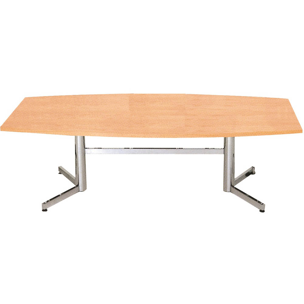 Product image: Om Boardroom Table Boat Shaped 2400 X 1200Mm Beech