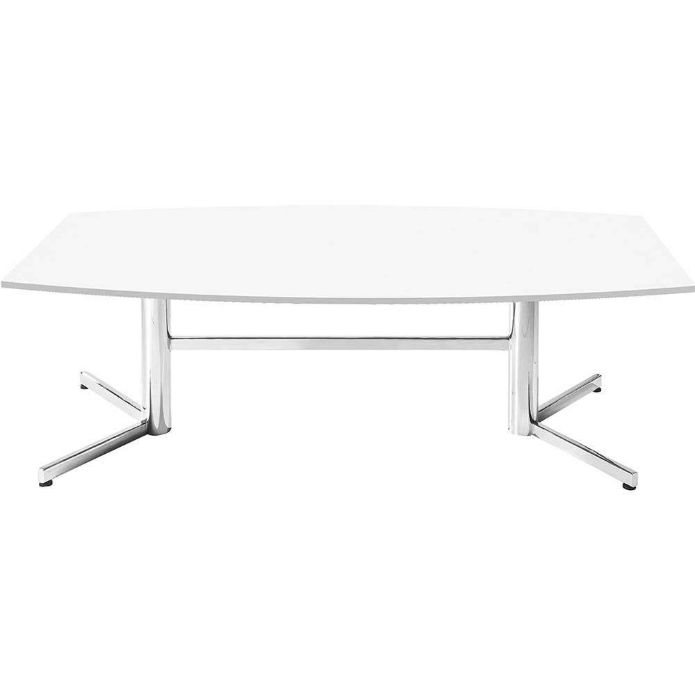 Product image: Om Boardroom Table Boat Shaped 2400 X 1200Mm White