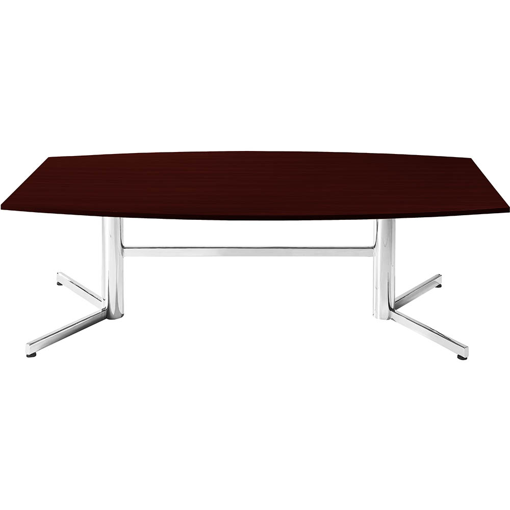 Product image: Om Boardroom Table Boat Shaped 2400 X 1200Mm Redwood