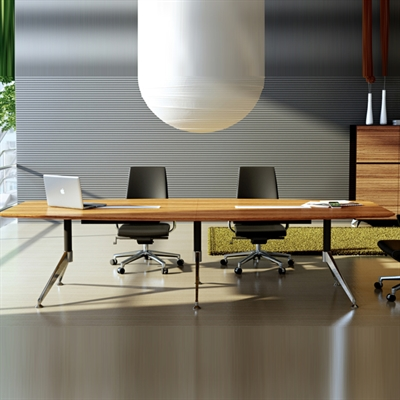 Product image: Novara Boardroom Table Zebrano Timber Veneer With Cable Box 3000 X 1200 X 750Mm