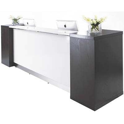 Product image: Aston Reception Counter With Side Bookshelves 3100 X 810 X 1150Mm White/Dark Chocolate Brown
