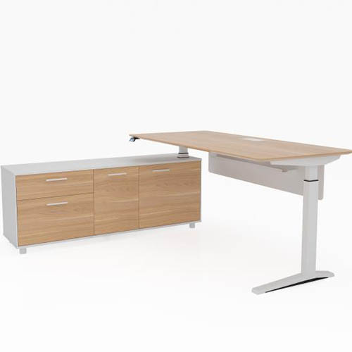 Product image: Potenza Executive Electric Height Adjustable Desk With Left Hand Side Buffet 2000 X 1820Mm Virginia Walnut/White