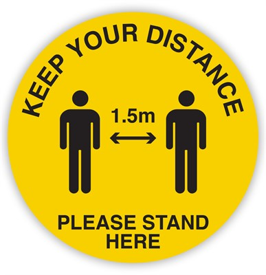 Product image: Durus Social Distance Circular 1.5metres - Yellow & Black