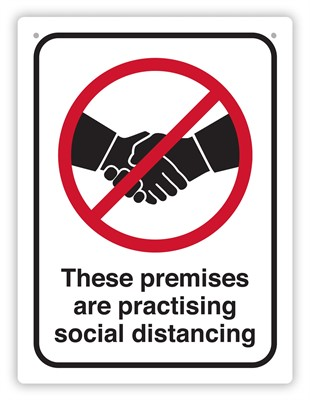 Product image: Durus Social Distance Premises Sign Rectangle - Black & Red