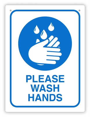 Product image: Durus Wash Hands Sign Rectangular - Blue & White