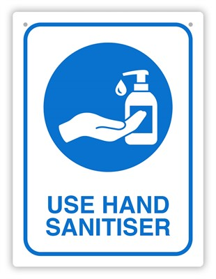 Product image: Durus Use Hand Sanitiser Sign Rectangular - Blue & White