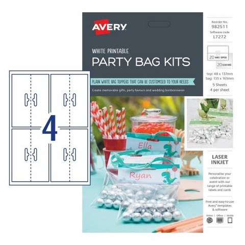 Product image: Avery 982511 L7272 Party Bag Kits Pack 20