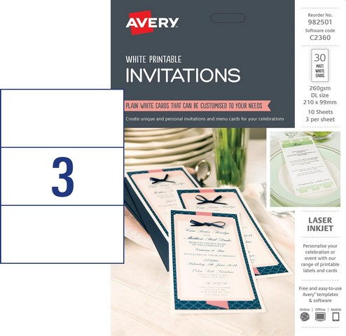 Product image: Avery 982501 C2360 Dl Invitations Pack 30