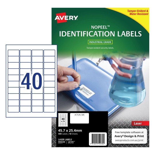 Product image: Avery 959230 L6145 No Peel Labels 40Up 45.7 X 25.4Mm White