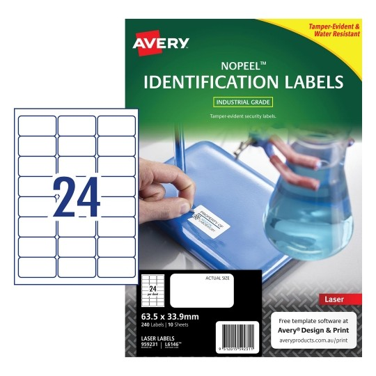 Product image: Avery 959231 L6146 No Peel Labels 24Up 63.5 X 33.9Mm White