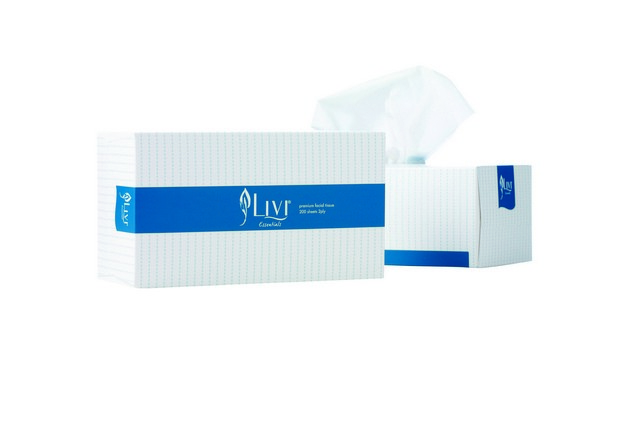 Product image: Livi Essentials Facial 1302 Tissues Hypoallergenic 2 Ply 200 Sheet