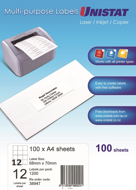 Product image: Unistat Laser/Inkjet/Copier 12Up 68X70 Label - 1200 Labels