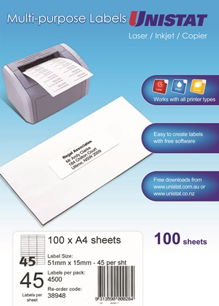 Product image: Unistat Laser/Inkjet/Copier 45 Up 51X15 Label - 4500 Labels