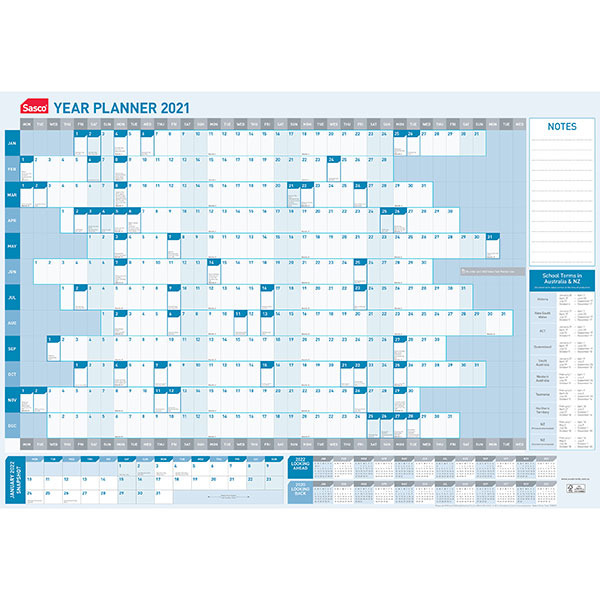 Product image: Sasco 2021 Year Planner 610mm X 870mm