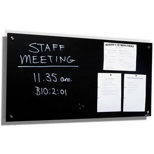 Product image: Visionchart Lumiere Magnetic Glassboard With Pen Tray 1800 X 1200Mm Black