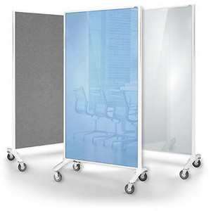 Product image: Visionchart Communicate Room Divider White Glassboard / Grey Pinnable 1800 X 900Mm